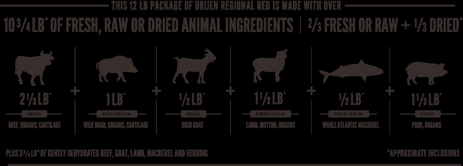 ORIJEN Regional Red Meatmath Formula and Cat Food Ingredients